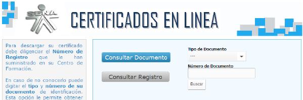 Seleccionar documento de identidad para bajar el certificado del SENA